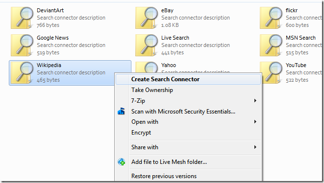 Pcture showing how to create Search Connector from Search Connector Discription file