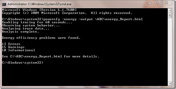 Picture of Power Configuration Tool generating Energy Report via Command Prompt