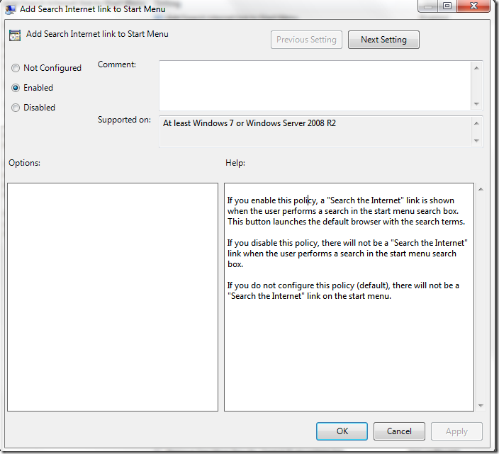 Picture showing 'Addition of Search Internet Link to Sart Menu' via Group Policy Editor