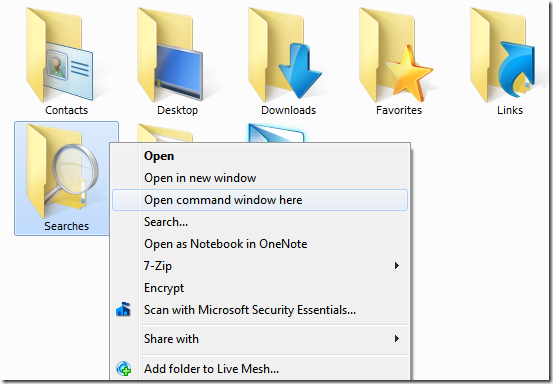 Picture showing opening of Command Prompt via Folder Context Menu
