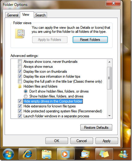 Picture showing Folder Options