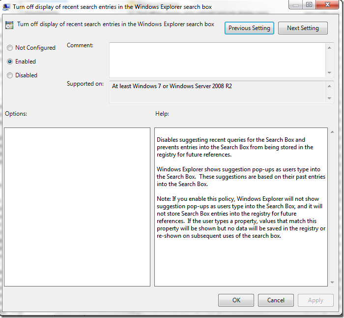 Picture showing how to turn off display of recent search entries in Windows Explorer search box via Group Policy Editor