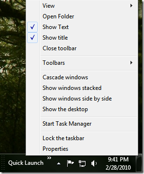 Picture showing the context menu of Quick Launch Bar