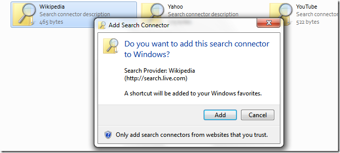 Picture showing addition of Search Connector to the Searches folder