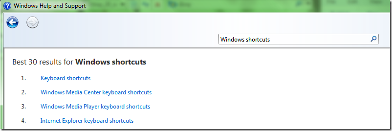 Picture showing searching of Windows Shortcuts via Winodws Help and Support