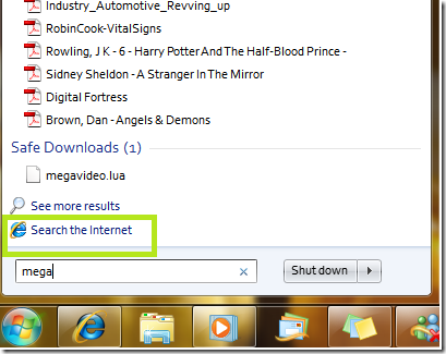 Picture showing 'Search the Internet'  on Start Menu Search